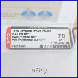 1978 Kenner Star Wars Early Bird Set AFA 70 EX+ Double Telescoping Luke RARE