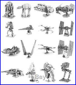 Full Set of 16 Fascinations Metal Earth Star Wars 3D Laser Steel Cut Model Kits