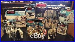 Huge vintage star wars boxed toy collection with figures hoth display set