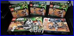 LEGO Star Wars 5 Set Lot Clone Troopers Tank Droidekas 75000 9488 95015