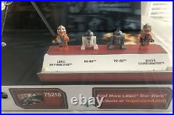 STAR WARS LEGO X WING FIGHTER 75218 STORE DISPLAY CASE With LIGHTS & MINIFIGS