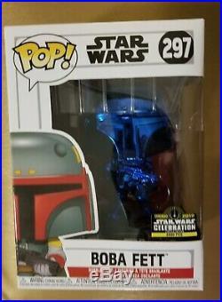 Star Wars Celebration 2019 Chicago FUNKO POP! BLUE CHROME SET Boba Fett IN HAND