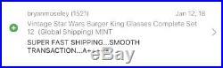 Vintage Star Wars Burger King Glasses Complete Set 12 (Global Shipping) MINT